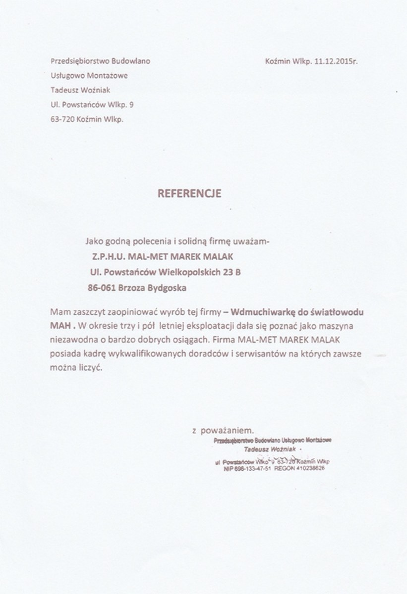 referencje - Przedsięboiorstwo Budowlano Usługowo Montażowe
