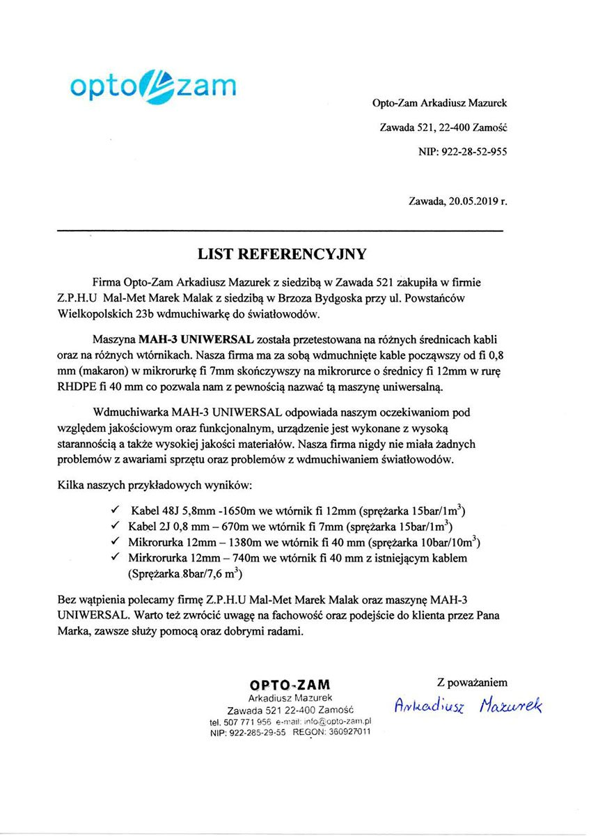referencje - OPTO-ZAM