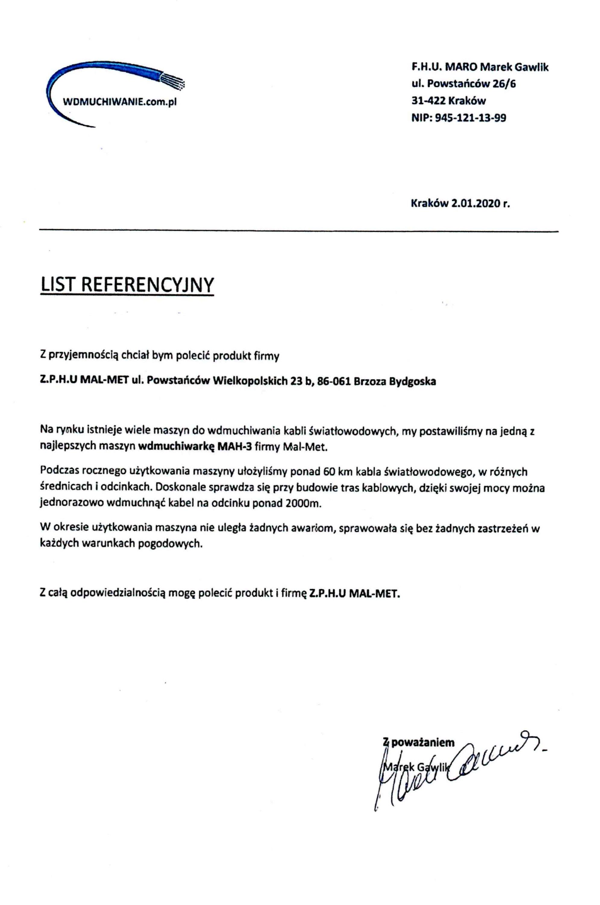 referencje - FHU Maro